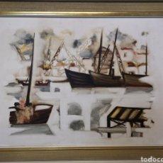 Arte: INTERESANTE OLEO SOBRE LIENZO, DE 96X77CM(ENMARCADO), ESCENA DE MAR, BARCOS... ANÓNIMO.. Lote 140749246