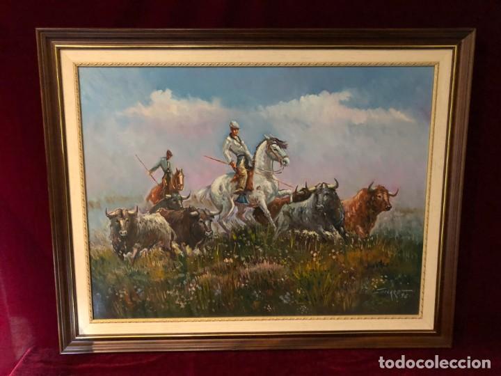 OLEO DEL GRAN PINTOR RAFAEL SIMARRO 1928 . GRAN ESPECIALISTA EN TAUROMAQUIA TOROS ENCIERROS CABALLO (Arte - Pintura - Pintura al Óleo Contemporánea )