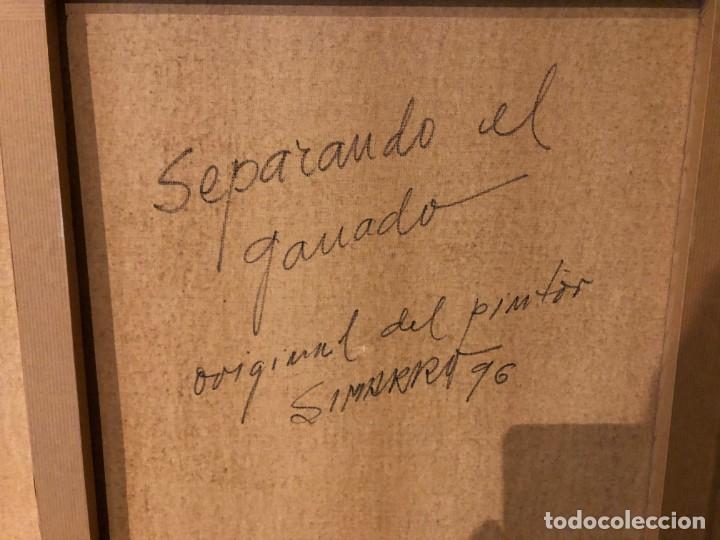 Arte: OLEO DEL GRAN PINTOR RAFAEL SIMARRO 1928 . GRAN ESPECIALISTA EN TAUROMAQUIA TOROS ENCIERROS CABALLO - Foto 13 - 140761302