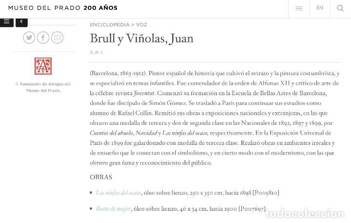 Arte: JOAN BRULL VINYOLES (BCN1863-1912) Magnífico óleo del REPRESENTANTE DEL SIMBOLISMO CATALÁN - Foto 6 - 140770326