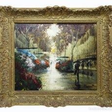 Arte: 1960C BARCELONA - RAMBLA DE LAS FLORES - ALBERT JUNYENT I QUINQUER (1903-1976) - ESCUELA CATALANA. Lote 140772482