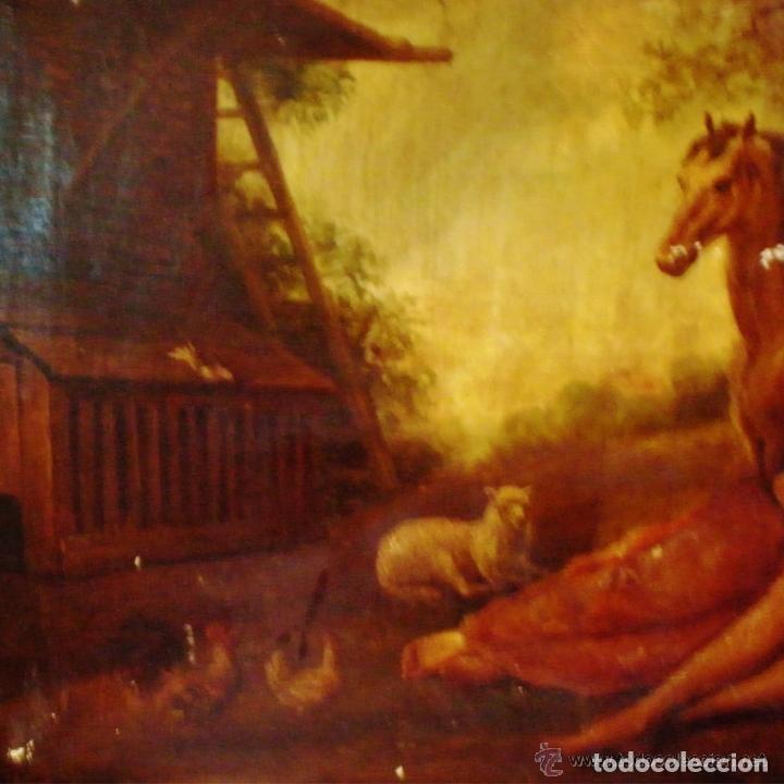 Arte: ANTIGUA PINTURA AL OLEO SOBRE LIENZO, CAMPESTRE Y ROMANTICO, CON PAREJA BAJO ARBOL REALISTA CLASICA - Foto 3 - 140792298