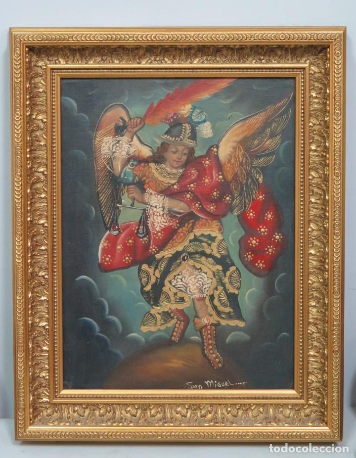 PRECIOSO ARCANGEL SAN MIGUEL. OLEO S/ LIENZO. ESCUELA CUZQUEÑA (Art - Painting - Modern Oil Painting no definite date)