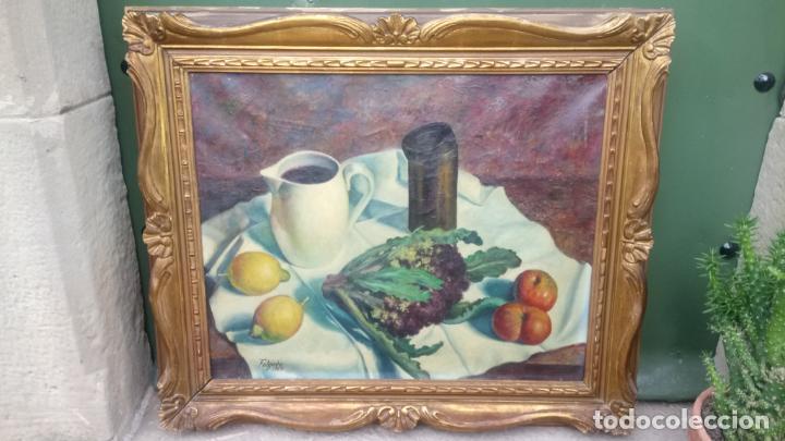 ANTIGUO CUADRO PINTADO AL OLEO DE UN BODEGÓN DEL PINTOR VICENTE FOLGADO FORTEZA DEL AÑO 1949 (Arte - Pintura - Pintura al Óleo Contemporánea )