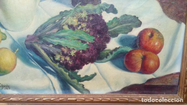 Arte: Antiguo cuadro pintado al oleo de un bodegón del pintor Vicente Folgado Forteza del año 1949 - Foto 2 - 140807302