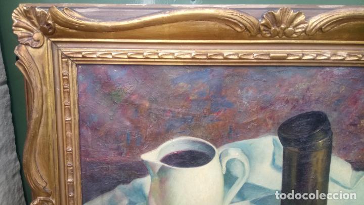 Arte: Antiguo cuadro pintado al oleo de un bodegón del pintor Vicente Folgado Forteza del año 1949 - Foto 4 - 140807302