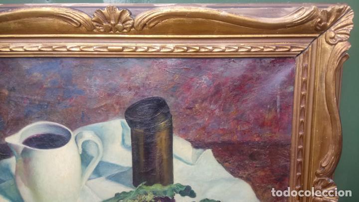 Arte: Antiguo cuadro pintado al oleo de un bodegón del pintor Vicente Folgado Forteza del año 1949 - Foto 5 - 140807302