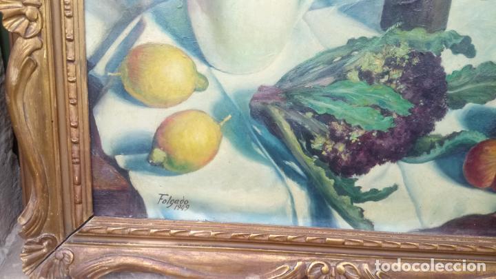Arte: Antiguo cuadro pintado al oleo de un bodegón del pintor Vicente Folgado Forteza del año 1949 - Foto 6 - 140807302