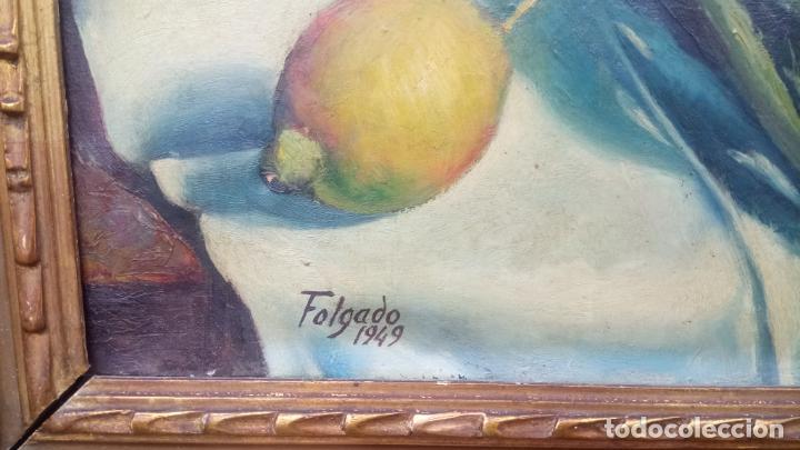 Arte: Antiguo cuadro pintado al oleo de un bodegón del pintor Vicente Folgado Forteza del año 1949 - Foto 7 - 140807302