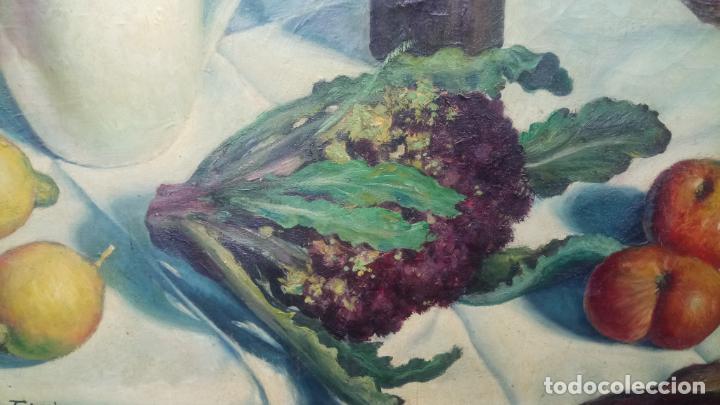 Arte: Antiguo cuadro pintado al oleo de un bodegón del pintor Vicente Folgado Forteza del año 1949 - Foto 8 - 140807302