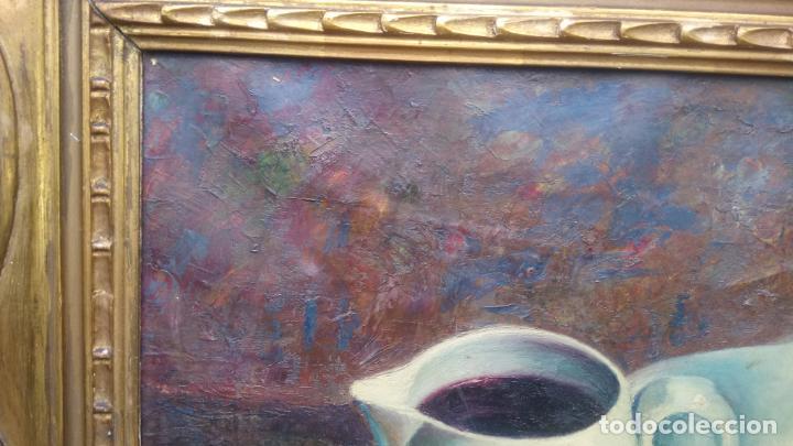 Arte: Antiguo cuadro pintado al oleo de un bodegón del pintor Vicente Folgado Forteza del año 1949 - Foto 9 - 140807302