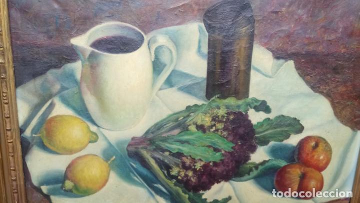 Arte: Antiguo cuadro pintado al oleo de un bodegón del pintor Vicente Folgado Forteza del año 1949 - Foto 10 - 140807302