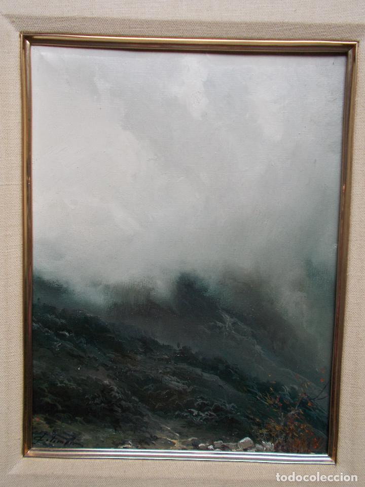 Arte: JOSEP COLOMER COMAS (1935-2003). NIEBLA, ÓLEO SOBRE TELA. ESCUELA DE OLOT. - Foto 5 - 140835842