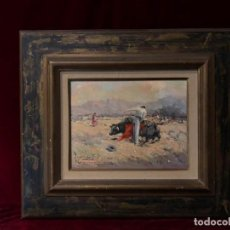 Arte: OLEO EN LIENZO PINTOR VICENTE SANCHEZ NAVARRO , 1926 , ESPECIALISTA TAUROMAQUIA TOROS CABALLOS. Lote 140835930