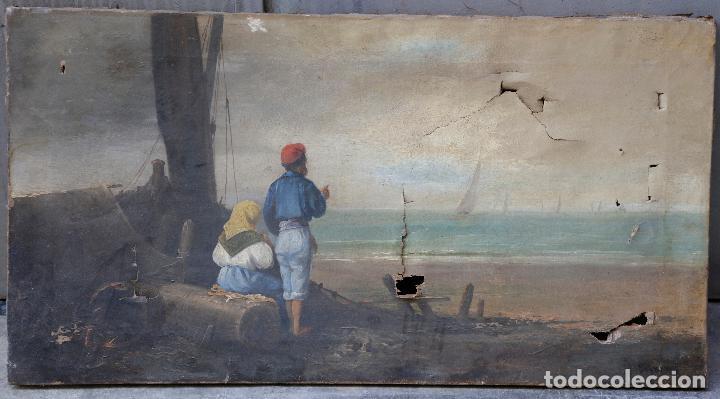 ESCENA MARÍTIMA CON PERSONAJES, PINTURA AL ÓLEO SOBRE TELA. 40X75,5CM (Arte - Pintura - Pintura al Óleo Moderna siglo XIX)