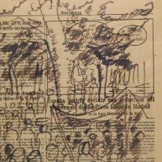 Arte: MANUEL TORRES (MARÍN, 1901 - 1995). FEIRA. TINTA SOBRE PAPEL DE PERIÓDICO. Lote 140862262