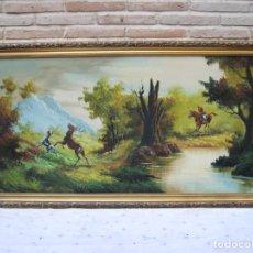 Arte: CUADRO GRANDE DE PAISAJE PINTADO AL OLEO SOBRE LIENZO .ENMARCADO Y FIRMADO.- VINTAGE.. Lote 140908246