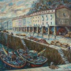 Arte: FLORENCIO OSCARIZ - OLEO SOBRE TÁBLEX, PESQUEROS EN EL PUERTO DE SAN SEBASTIÁN - 1920-2005. Lote 140930718