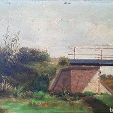 Arte: J.MARQUEZ(SXIX).PAISAJE CON PUENTE.1891.OLEO/TABLA.FIRMADO Y FECHADO.. Lote 140981881