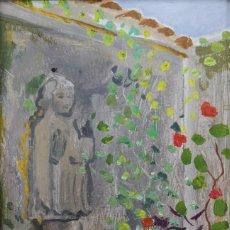 Arte: TENREIRO BROCHÓN , ANTONIO (A CORUÑA, 1923 - 2006). EL PARQUE. ÓLEO SOBRE TABLA. Lote 140987238