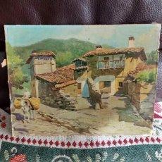 Arte - cuadro antiguo aldea - 141091730