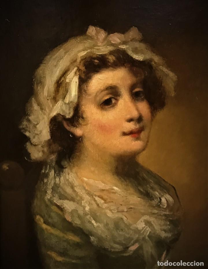 Arte: magistral retrato de dama con con cofia - Foto 2 - 141115706