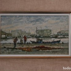 Arte: PERE MONTSERRAT (BARCELONA, 1926) OLEO / TELA, PEGADO A CARTON DURO. PUERTO DE ARENYS DE MAR.. Lote 141127402