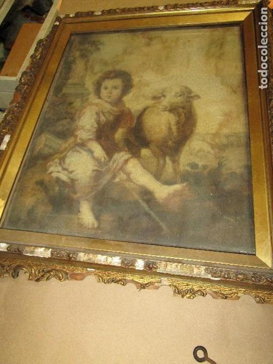 Arte: ANTIGUO OLEO RELIGIOSO PINTURA EN tapiz MAS DE 100 AÑOS SAN JUAN BAUTISTA - Foto 2 - 141137370