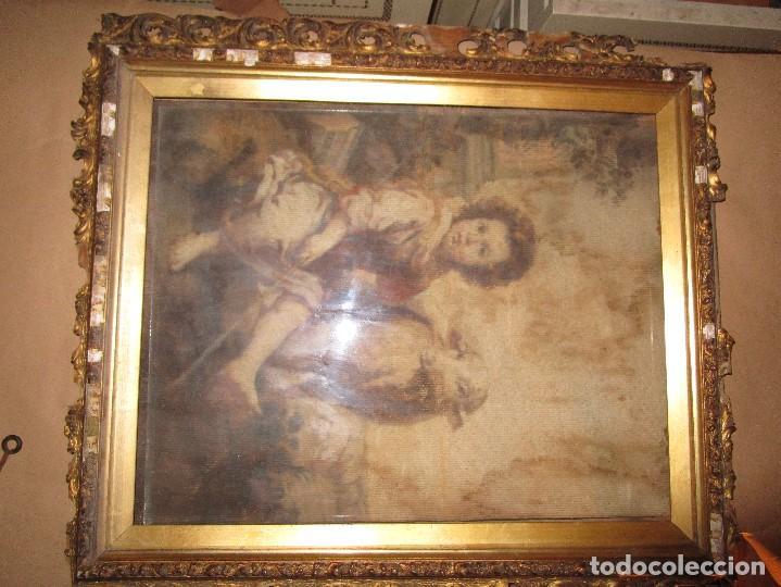 Arte: ANTIGUO OLEO RELIGIOSO PINTURA EN tapiz MAS DE 100 AÑOS SAN JUAN BAUTISTA - Foto 3 - 141137370