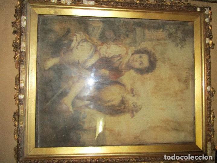Arte: ANTIGUO OLEO RELIGIOSO PINTURA EN tapiz MAS DE 100 AÑOS SAN JUAN BAUTISTA - Foto 5 - 141137370