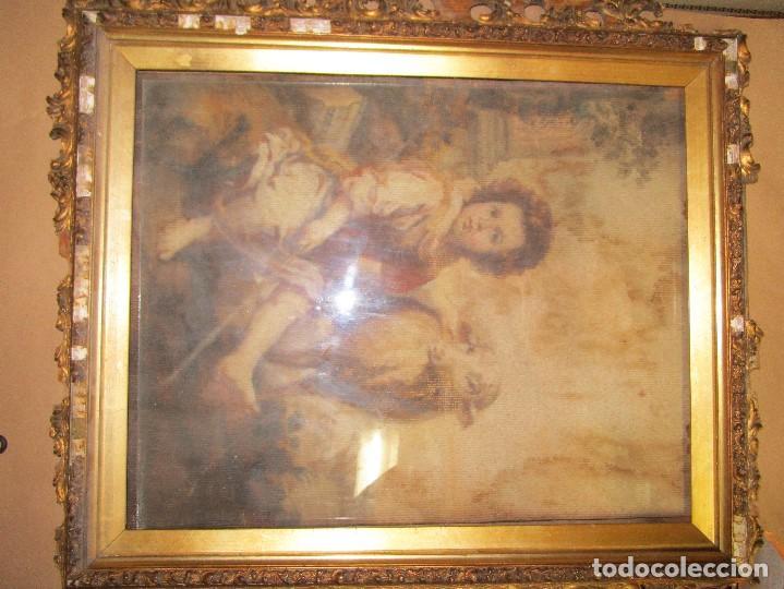 Arte: ANTIGUO OLEO RELIGIOSO PINTURA EN tapiz MAS DE 100 AÑOS SAN JUAN BAUTISTA - Foto 6 - 141137370