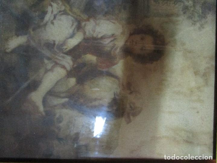 Arte: ANTIGUO OLEO RELIGIOSO PINTURA EN tapiz MAS DE 100 AÑOS SAN JUAN BAUTISTA - Foto 7 - 141137370