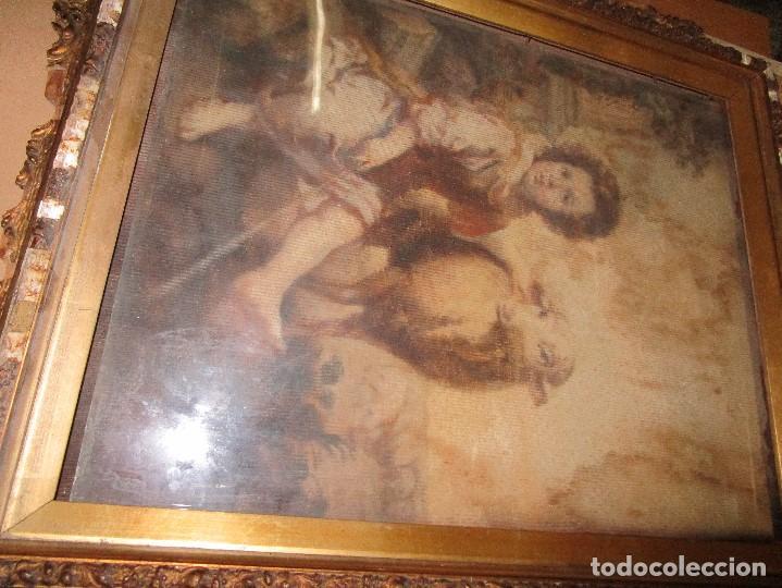 Arte: ANTIGUO OLEO RELIGIOSO PINTURA EN tapiz MAS DE 100 AÑOS SAN JUAN BAUTISTA - Foto 8 - 141137370