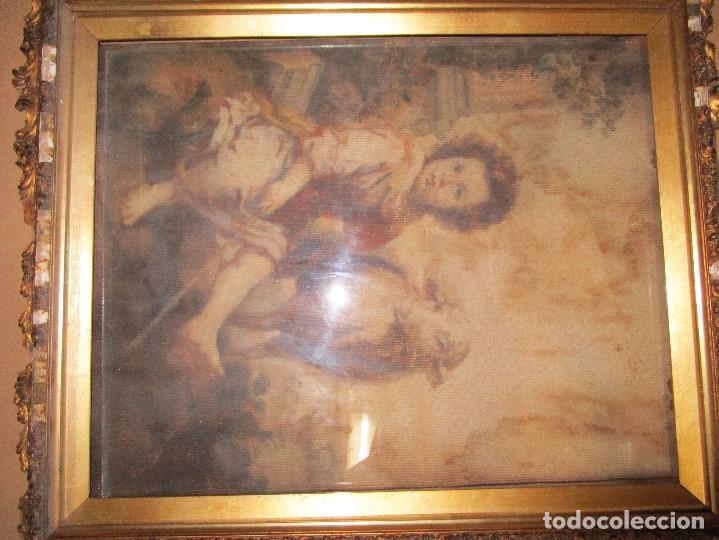 Arte: ANTIGUO OLEO RELIGIOSO PINTURA EN tapiz MAS DE 100 AÑOS SAN JUAN BAUTISTA - Foto 9 - 141137370