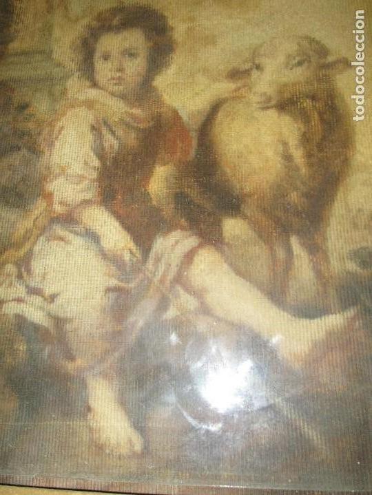 Arte: ANTIGUO OLEO RELIGIOSO PINTURA EN tapiz MAS DE 100 AÑOS SAN JUAN BAUTISTA - Foto 11 - 141137370