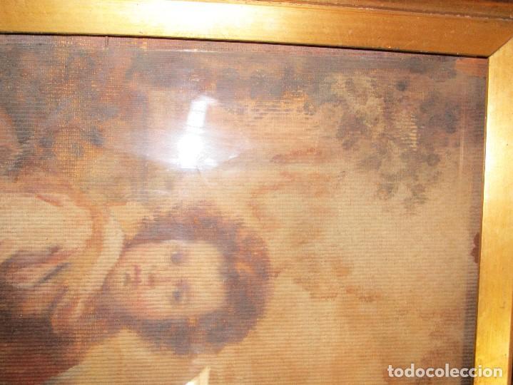 Arte: ANTIGUO OLEO RELIGIOSO PINTURA EN tapiz MAS DE 100 AÑOS SAN JUAN BAUTISTA - Foto 12 - 141137370