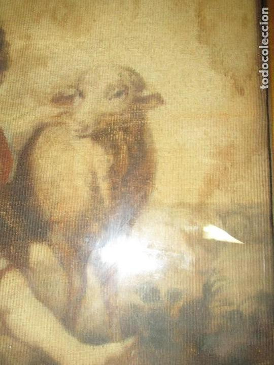 Arte: ANTIGUO OLEO RELIGIOSO PINTURA EN tapiz MAS DE 100 AÑOS SAN JUAN BAUTISTA - Foto 13 - 141137370