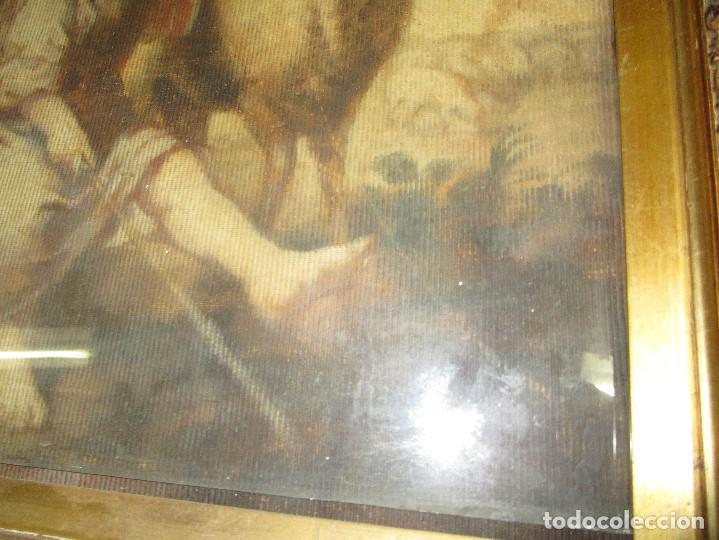 Arte: ANTIGUO OLEO RELIGIOSO PINTURA EN tapiz MAS DE 100 AÑOS SAN JUAN BAUTISTA - Foto 14 - 141137370
