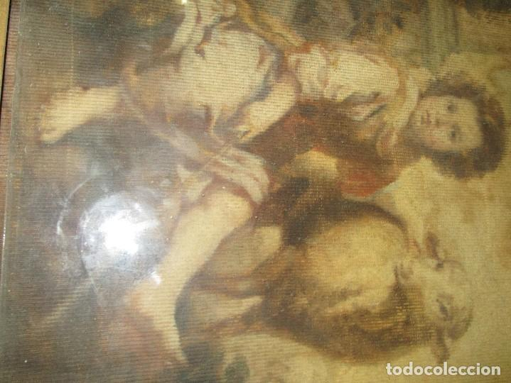 Arte: ANTIGUO OLEO RELIGIOSO PINTURA EN tapiz MAS DE 100 AÑOS SAN JUAN BAUTISTA - Foto 15 - 141137370