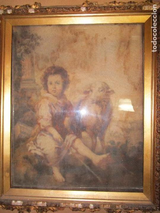 ANTIGUO OLEO RELIGIOSO PINTURA EN TAPIZ MAS DE 100 AÑOS SAN JUAN BAUTISTA (Arte - Pintura - Pintura al Óleo Contemporánea )