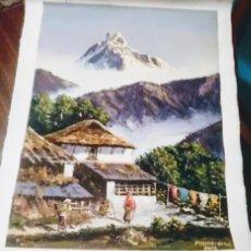 Arte: PINTURA AL OLEO PRECIOSO PAISAJE KATMANDÚ NEPAL 40 CM X 32 CM. Lote 141153514