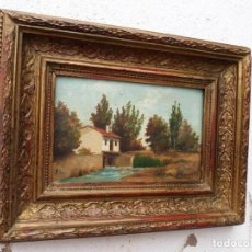 Arte: PINTURA ANTIGUA PAISE EN SANTANDES 1889. Lote 141180030