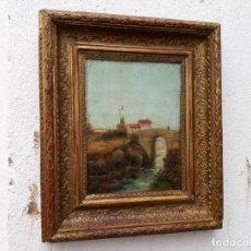 Arte: PINTURA ANTIGUA PAISE EN VIZCAYA 1889. Lote 141180258