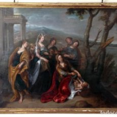 Arte: OLEO SOBRE COBRE DEL S. XVII SIMON DE VOS (1603-1673) FIRMADO Y FECHADO. MOISÉS SALVADO DE LAS AGUAS. Lote 141370274