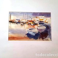 Arte: ACUARELA DE JOSEP MARFA GUARRO - BARCELONA - BARQUES - ANY 1991 -. Lote 141443438