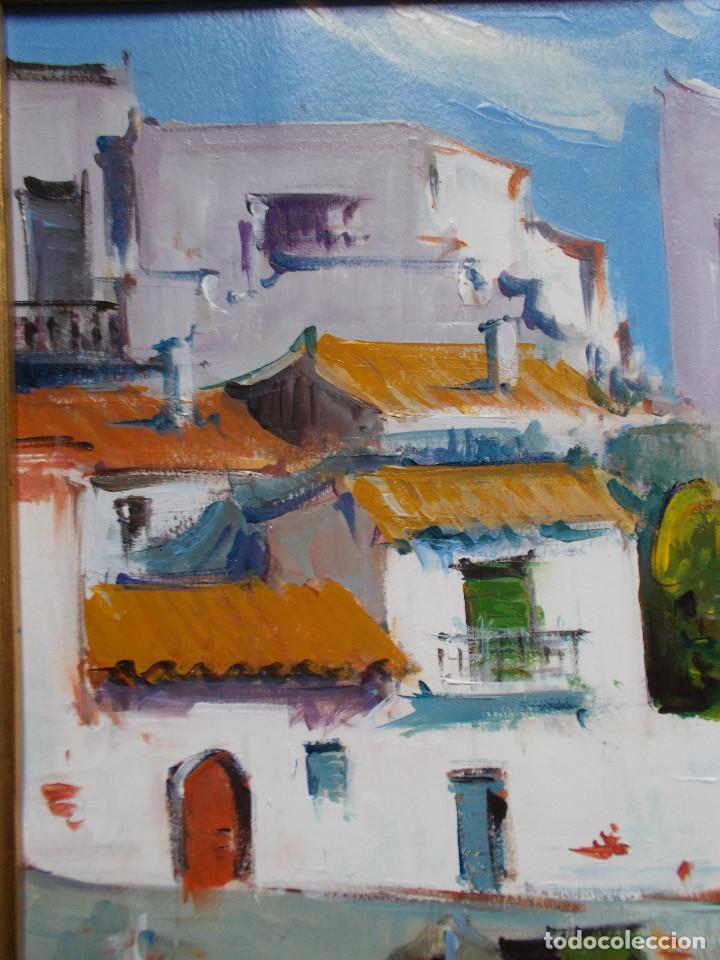 Arte: JOAN SARQUELLA OLIVERAS (1956). PUEBLO DE LA COSTA BRAVA, ÓLEO SOBRE PAPEL. BRILLANTE CROMATISMO. - Foto 6 - 141453286