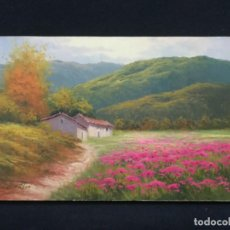 Arte: PAISAJE DE AMAPOLAS CON CASA POR EL ARTISTA COSTA. Lote 141563298