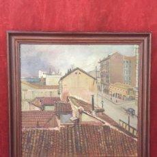 Arte: OLEO SOBRE TABLA VISTA URBANA ERNESTO CASTELLS 1924 DEDICADO TEJADOS CALLE CATALUÑA 47,5X49,5CMS. Lote 141624934