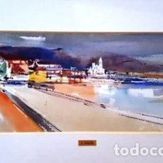Arte: PINTURA ACUARELA SITGES DE JOSEP MARFA GUARRO - BARCELONA - Nº1 C -. Lote 141624950