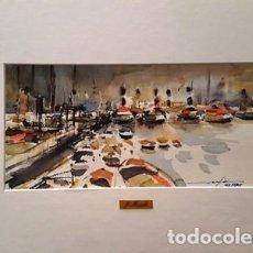 Arte: PINTURA ACUARELA - EL PORT BCN DE JOSEP MARFA GUARRO - BARCELONA - Nº1 C -. Lote 141635214